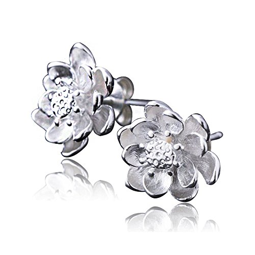 Acxico Tridimensional Water Lily Shape Stud Earrings