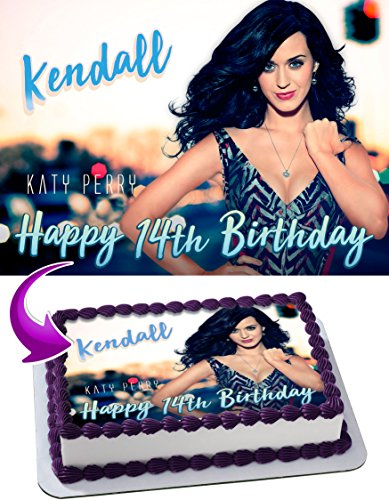 (Katy Perry Edible Cake Topper Personalized Birthday 1/4 Sheet Decoration Custom Sheet Party Birthday Sugar Frosting Transfer Fondant Image ~ Best Quality Edible Image for cake)
