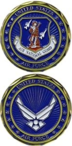 United States Military US Armed Forces Air Force Air National Guard Crest - Good Luck Double Sided Collectible Challenge Pewter Coin