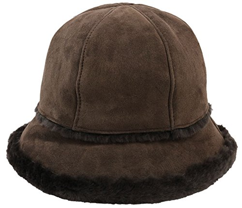UGG Women's Sheepskin City Bucket Hat Chocolate Hat One (Ugg Bucket Hat)