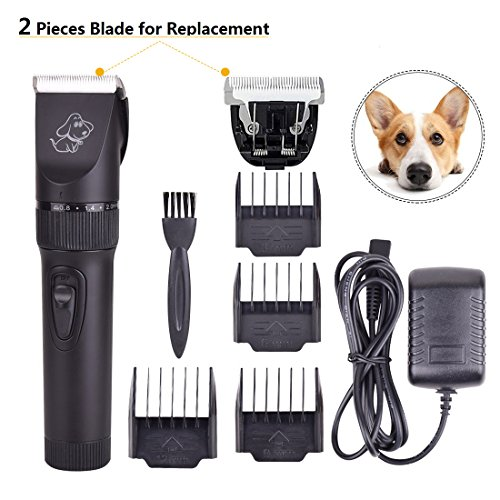 Upgrade Pet Rechargeable Hair Electric Clippers, Dog Grooming Hair Trimmer Cat Shaver Professional Clippers Tool Kit for Small,Medium and Large Dogs,Cats,Horses and Kids- PerSuper (And Is Ceramic Advanced Clipper)