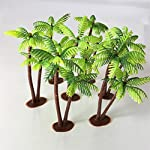 Tinksky 5Pcs Plastic Coconut Palm Tree Miniature Plant Pots Bonsai Craft Micro Landscape DIY Decor