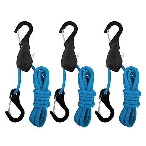 PROGRIP 056330 Better Than Bungee Rope Lock Tie Down with Snap Hooks: 6' Blue Paracord (Pack of 3)