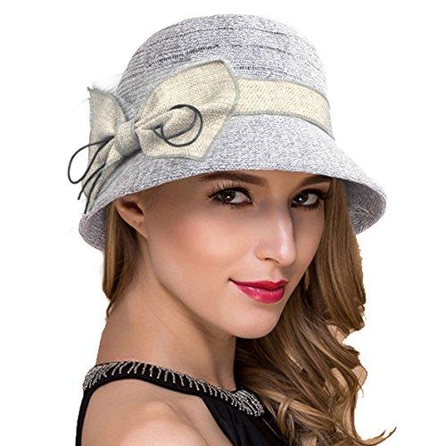 Womens Sun Beach Bucket Hat Cotton Linen Thread Sweet Cute Cloche Summer Cap W001 (Grey) -