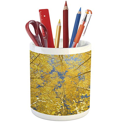 Aspen Writing Desk - Pencil Pen Holder,Yellow and Blue,Printed Ceramic Pencil Pen Holder for Desk Office Accessory,Looking Skyward Amongst The Patch of Sun lit Aspen Trees in Autumn Life Print