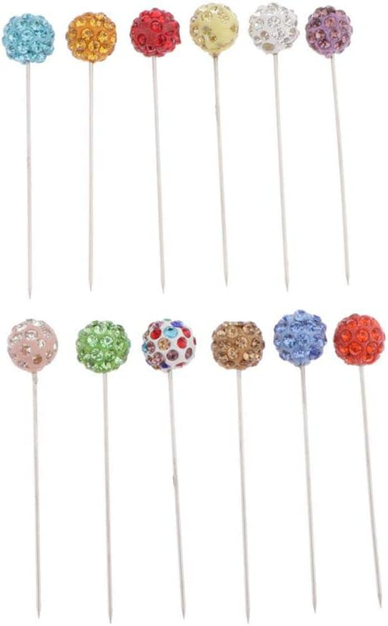 Multicolor dailymall 12 Pieces Crystal Rhinestone Head Pins for Dressmaker Corsages Pins Head Pins Wedding Bouquet Pins Corsage Pins