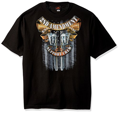 Hot Chip T-shirt - Hot Leathers Men's Crossed Pistols Short Sleeve Double Sided Shirt (Black, X-Large)
