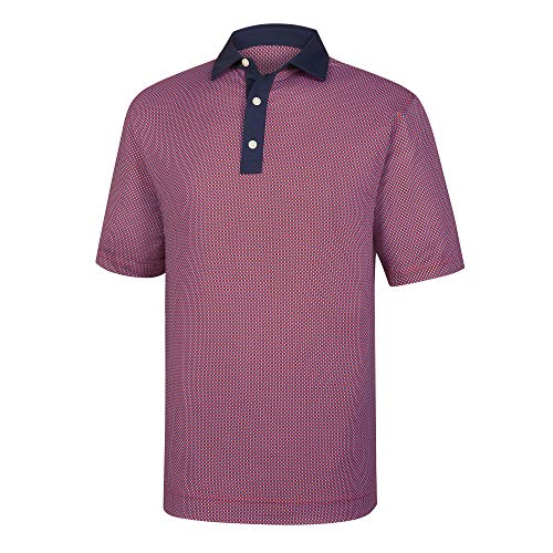 - Footjoy Lisle Basketweave Print Self Collar Navy/Scarlet