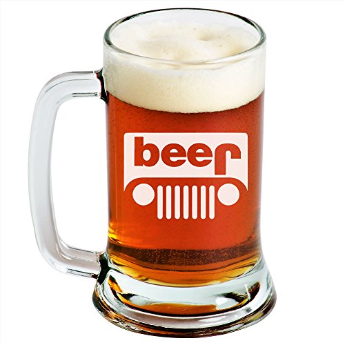 Jeep - Beer Mug - 1 Pack - Engraved Beer Mug - 16oz - Clear Glass - Funny Gifts for Men and Women by Sandblast Creations
