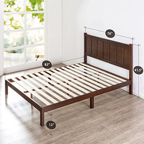 Zinus Wood Rustic Style Platform Bed with Headboard / No Box Spring Needed / Wood Slat Support, King