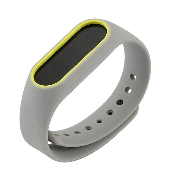 JiaMeng para Xiaomi MI Banda 2, Moda de Correa de la Venda de la Pulsera del Gel de Silicona del reemplazo para Xiaomi Mi Band Bracelet(Amarillo,tamaño ...