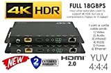 4K HDbaseT Extender Kit ETHERNET HDR 18GBPS HDMI Over Single CAT5e CAT6 CAT7 2.0B 4K @ 60hz UltraHD YUV 4:4:4 Uncompressed 330FT 100M Transmitter Receiver IR RS232 HDCP2.2 CONTROL4 Savant Automation