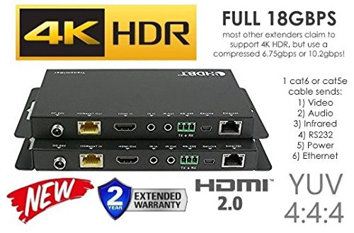 HDbaseT HDR Extender Kit HDMI 2.0B 18GBPS 4K @ 60hz Ethernet UltraHD YUV 4:4:4 Uncompressed 330FT 100M Transmitter Receiver IR RS232 CAT5e CAT6 HDCP2.2 CRESTRON CONTROL4 SAVANT HOME AUTOMATION 4K2K (Extender Rs232 Kit)