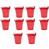 1st market プレミアム品質10個入りミニバケツキャンディーギフトバケツバケツギフト、赤