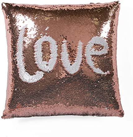 Lush Decor, Blush White, 16 X 16 Mermaid Sequins Decorative Throw Pillow