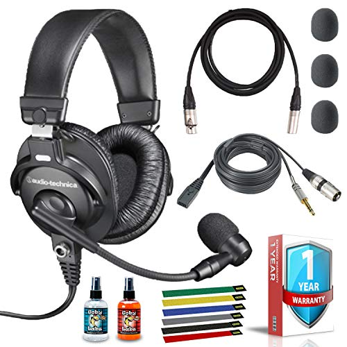 Audio-Technica BPHS1 Broadcast Stereo Headset with 10ft XLR Cable, Cleaning Kit, Cable Ties, and 1-Year Extended Warranty