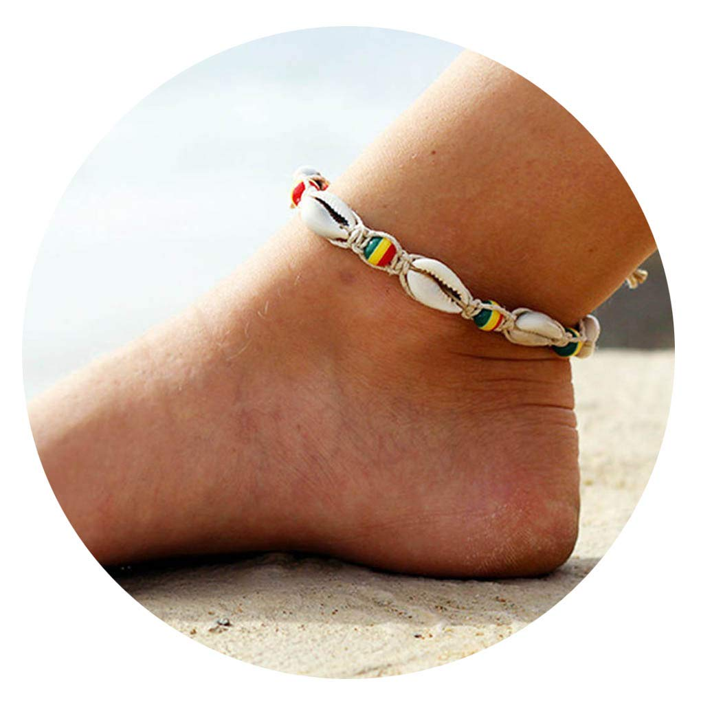 Tgirls Boho Hand-Woven Woven Anklet Beach Colorful Beads Ankle Bracelet Foot Shell Beach Anklet Jewelry for Women and Girls