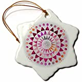 3dRose Andrea Haase Art Illustration - Pink Watercolor Mandala Pattern Illustration - 3 inch Snowflake Porcelain Ornament (orn_268252_1)