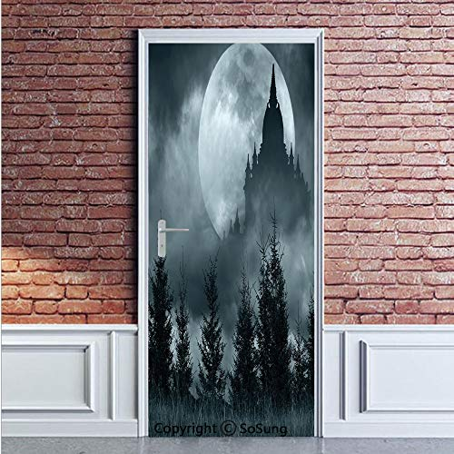 Halloween Door Wall Mural Wallpaper Stickers,Magic Castle Silhouette over Full Moon Night Fantasy Landscape Scary Forest,Vinyl Removable 3D Decals 35.4x78.7/2 Pieces set,for Home Decor Grey Pale Grey ()