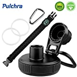 Pulchra Lid/Cap BPA Free for Wide Mouth Water Bottles, Spiral Drinking Mouth Cover with 1 Paracord Handle, 2 Replacement Gaskets, 1 Carabiner, Wide Mouth Bottle Universal Replacement Lid (Black)