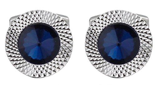 (Cufflinks Direct Sapphire Blue Swarovski Crystal Gem Stone Mens Gift Cuff Links (Cufflinks with Gift Bag))