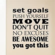 YINGKAI Set Goals Push Yourself Exercise Decal Fitness Motivation Decor Living Room Home Schools Offices Vinyl Carving Wall Decal Sticker for Home Window Decoration