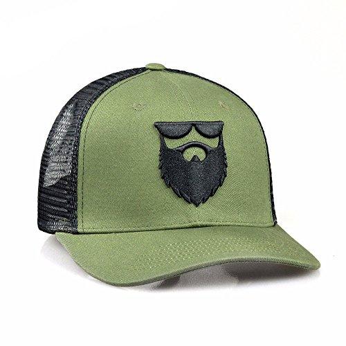 OG Beard Logo Mesh Snapback Hat Military Green