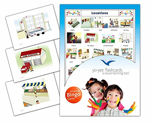 Location Flash Cards in English with Matching Bingo Game Cards in One Set - Vocabulary Picture Cards for Toddlers, Kids, Children and Adults - Size 4.13 × 5.83 in - DIN A6