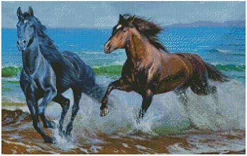 Running Horses Chart Counted Cross Stitch Patterns Needlework DIY 14 ct Aida