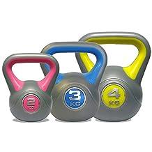 DKN Vinyl Kettle Bell Weight Set - Multi-Colour, 2 - 4 kg