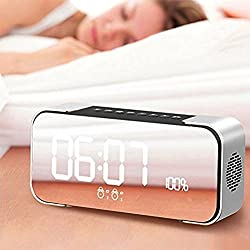 Wireless Alarm Clock Speaker Bluetooth Bluetooth 4.2 Hi-Fi Speaker LED Display Hands-free Talk for iPhone/Android Phones Large LED Dimmable Display gift for women Men Teens (Silver)