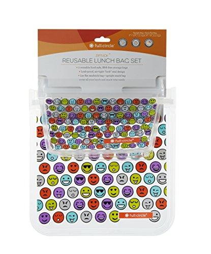 Full Circle ZipTuck Kids, Reusable Lunch Bags, 2 Pack, Emoji