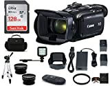 Canon VIXIA HF G21 Full HD Camcorder Bundle, Includes: 128GB SDXC Memory Card, LED Light, Spare Battery, 58mm Telephoto & Wide Angle Lenses, Camcorder Bag and More.