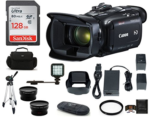 Canon VIXIA HF G21 Full HD Camcorder Bundle, Includes: 128GB SDXC Memory Card, LED Light, Spare Battery, 58mm Telephoto & Wide Angle Lenses, Camcorder Bag and More. (Hf Audio)
