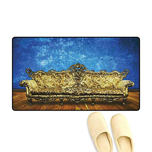 Victorian Customize Door mats for Home Victorian Sofa in Room Interior Wooden Floor Timber Panel Curve Aged Size:32