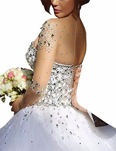 Changjie Damen Brautkleid Hochzeitskleid Weiß Prinzessin Kristall Langarm Perlen r8dwrqP