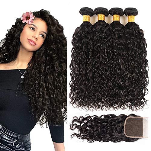 Perstar 8A Water Wave Bundles with Closure Virgin Hair Bundles 100% Unprocessed Human Hair Brazilian Hair Water Wave Bundles with 4