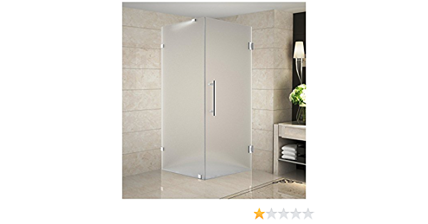 Aston Neoscape Gs 38 X 38 X 72 Completely Frameless Neo Angle Shower Enclosure In Frosted Glass With Shelves Polished Chrome