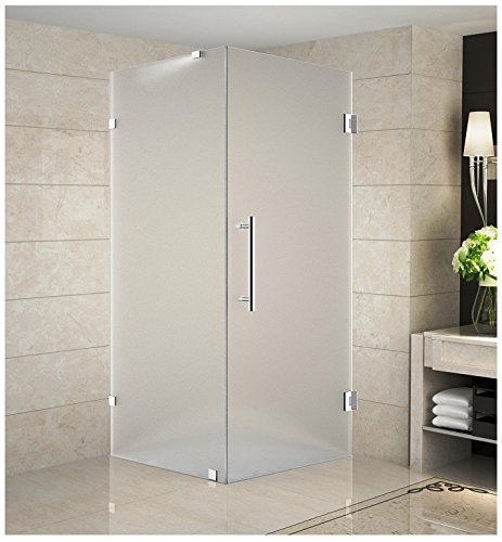 "Aston Aquadica 36"" x 36"" x 72"" Completely Frameless Square Hinged Shower Enclosure in Frosted Glass, Polished Chrome"