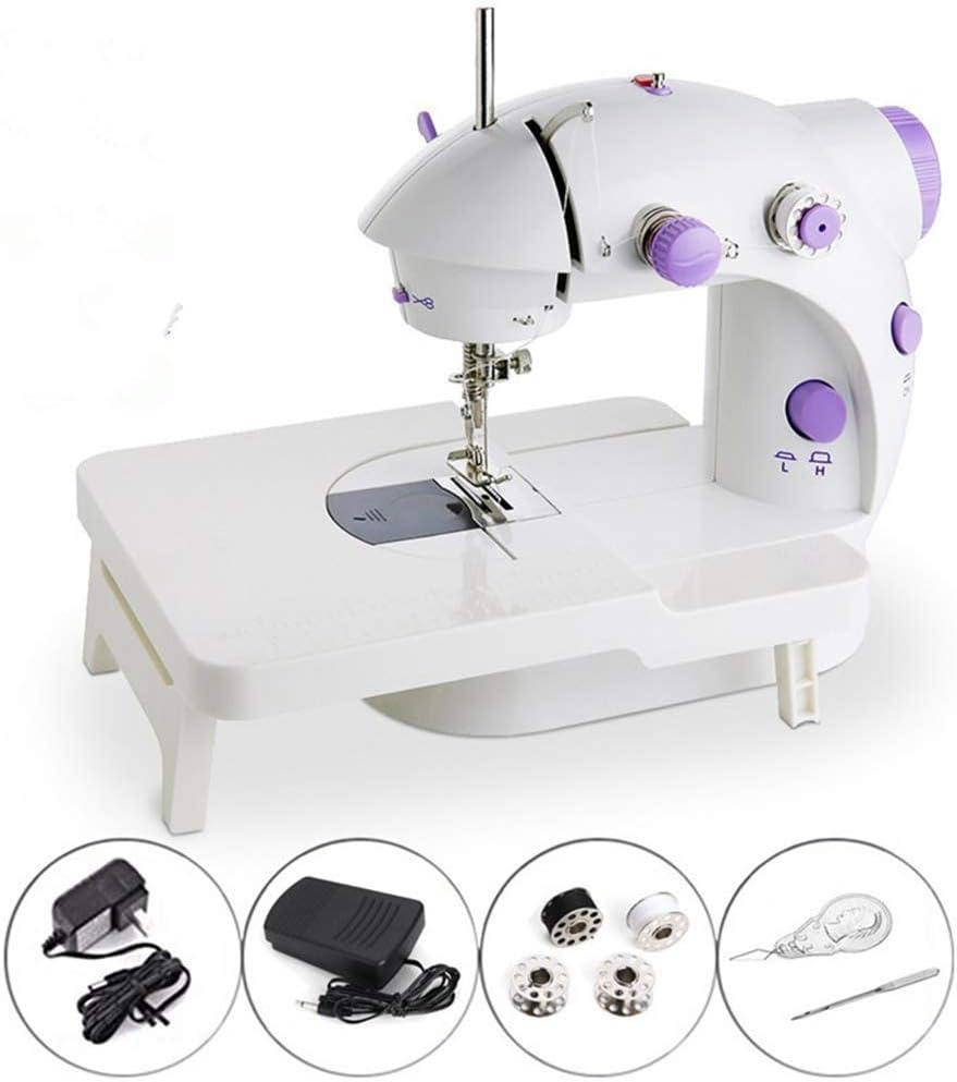 Máquina De Coser Eléctrica, Mini portátil de 2 velocidades Máquina de coser automatica Máquina con mesa de extensión, con pedal, máquina de coser eléctrica para casa, Viaje