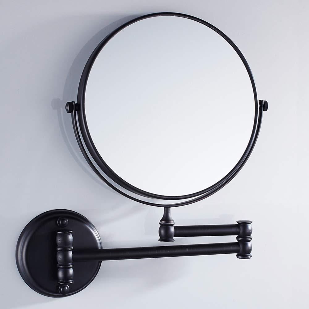 VELIMAX 8 Pollici Specchio Pieghevole da Trucco in Ottone Solido per Bagno Montato a Parete Specchio Cosmetico di Ingrandimento Doppia Faccia Stile Antico, Finitura Cromata
