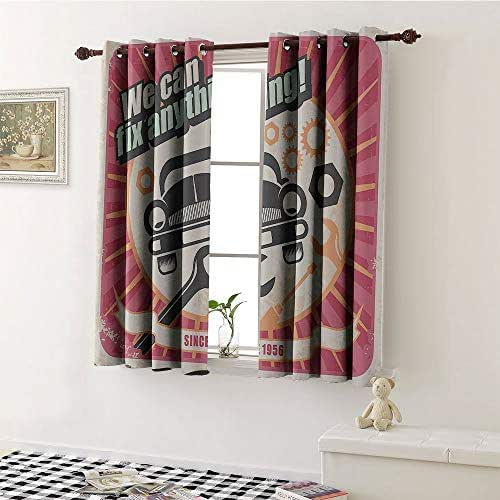 1950s Decor Collection, Window Curtain Drape, Auto Service Retro Poster and Mechanic Transport Workshop Quotes We Can Fix Anything Design, Customized Curtains W55 x L63 Inch Pink White