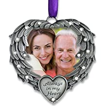 In Memory Photo Ornament - Always in My Heart - Angel Wings Picture Christmas Ornament with a Remembrance Saying on the Card - Sympathy Gifts - Bereavement Gifts