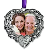 Banberry Designs In Memory Photo Ornament - Always in My Heart - Angel Wings Picture Christmas Ornament with a Remembrance Saying on the Card - Sympathy Gifts - Bereavement Gifts