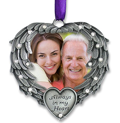 Pewter Angel Photo Frame Ornaments (In Memory Photo Ornament - Always in My Heart - Angel Wings Picture Christmas Ornament with a Remembrance Saying on the Card - Sympathy Gifts - Bereavement Gifts)