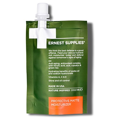 Ernest Supplies Protective Matte Moisturizer (0001) - 74ML On-The-Go Pouch – Premium, Plant-Based Anti-Aging Face Lotion to Control Oil and Shine, with Antioxidants, 2.5 ()