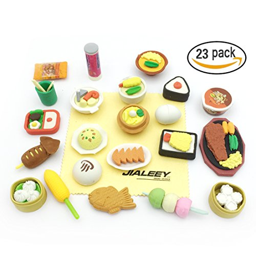 Jialeey 23 Puzzle Take Apart Food Erasers Collectible Set of Adorable Japanese Style Novelty Pencil Eraser Toys Variety with No Duplicates Gift Party Favors for Kids, Student Incentives (Cute Cheap Halloween Food Ideas)