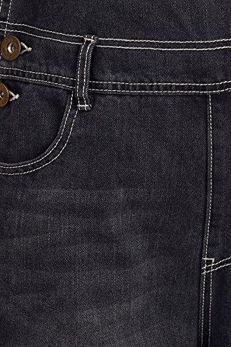 Distressed Black Denim Womens Straight Jean Distressed Bib Leg Anna Kaci Pocket Blue Overalls 7Rqwx0FA
