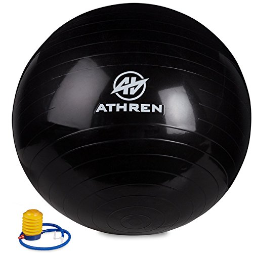 Exercise Ball with Foot Pump (GYM QUALITY FITNESS BALL) - 2000lbs Anti-burst - Also Known as: Fitness Ball - Yoga Ball - Swiss Ball - Multiple Colors and Sizes - (Black, 75cm)