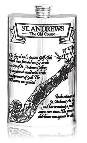 St. Andrews Golf Hip Flask Pewter 8 0z.